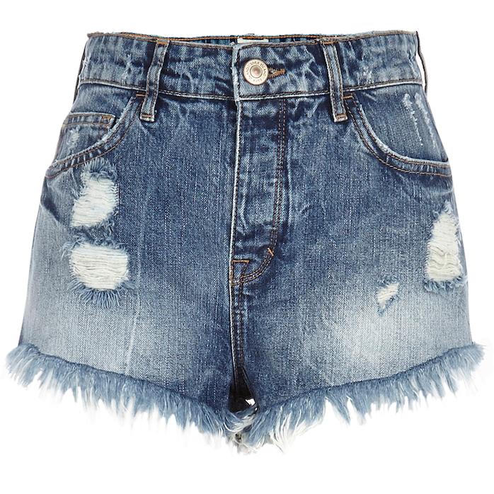 River Island_R579_mid wash ripped denim high waisted shorts_651744